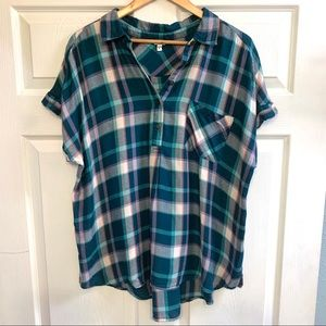 Sonoma Plaid Half Button Short Sleeve Top